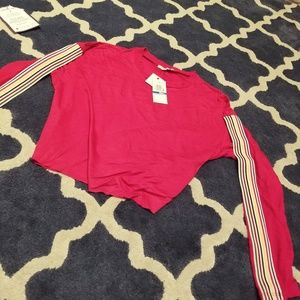 Ultra Flirt Womans Tracksuit Red Crop Top Small